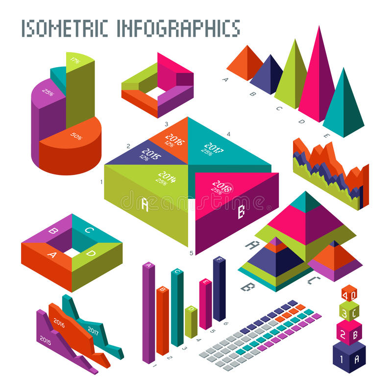 Isometric τρισδιάστατες διανυσματικές διαγράμματα και γραφικές παραστάσεις για την πληροφόρησή σας infographic και την επιχειρησι ελεύθερη απεικόνιση δικαιώματος