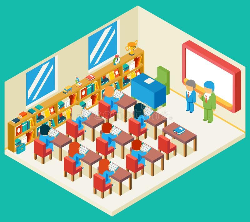 Isometric τρισδιάστατη έννοια εκπαίδευσης και σχολικής τάξης απεικόνιση αποθεμάτων