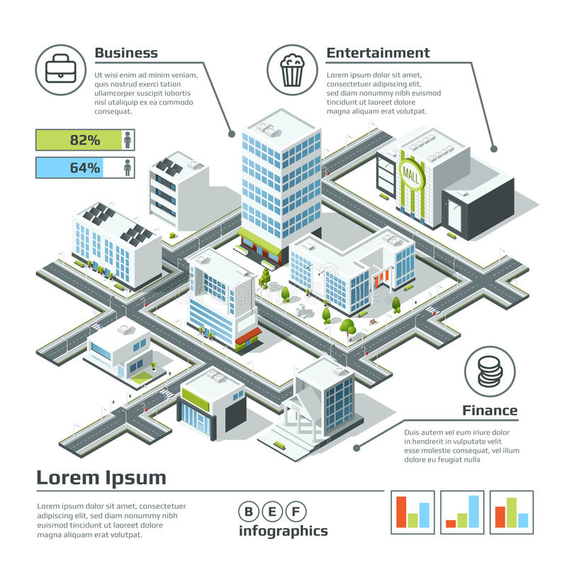 Isometric τρισδιάστατος χάρτης πόλεων Διανυσματική απεικόνιση Infographic Διαστατικό σχέδιο απεικόνιση αποθεμάτων