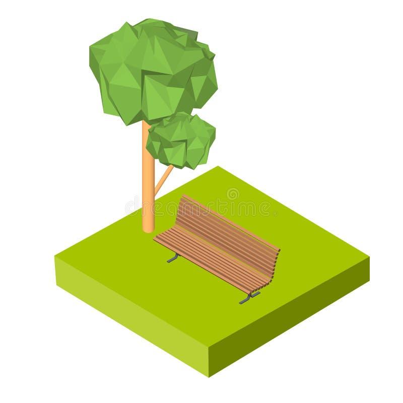 Isometric τρισδιάστατο εικονίδιο Πάγκος εικονογραμμάτων στη χλόη και το δέντρο διάνυσμα ασπίδων απεικόνισης 10 eps ελεύθερη απεικόνιση δικαιώματος