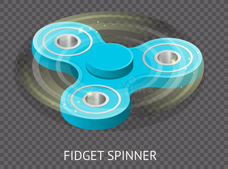Isometric τρισδιάστατο διάνυσμα ένας μπλε fidget κλώστης κλωστών ή χεριών Fidget παιχνίδι για την αυξανόμενη εστίαση, ανακούφιση  ελεύθερη απεικόνιση δικαιώματος
