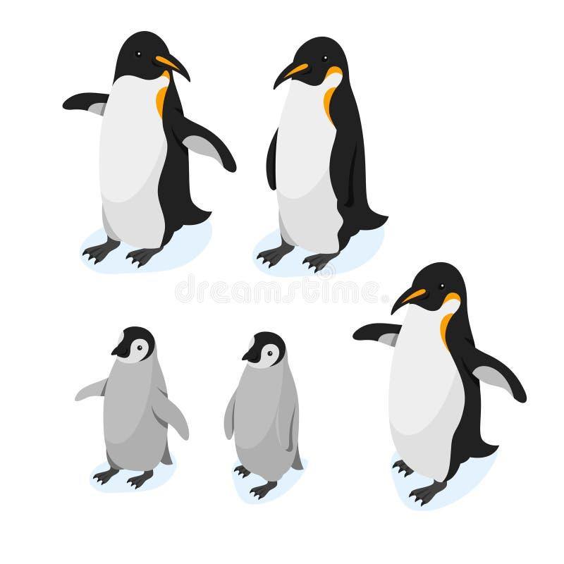 Isometric τρισδιάστατο διανυσματικό ρεαλιστικό σύνολο ύφους penguins ελεύθερη απεικόνιση δικαιώματος