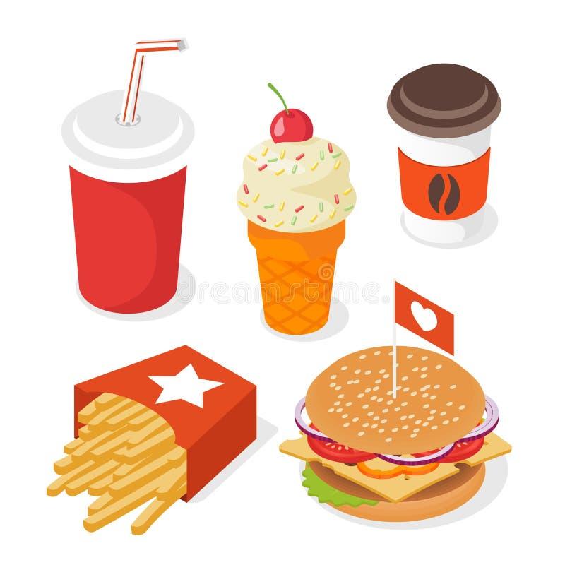 Isometric τρισδιάστατο διανυσματικό σύνολο ύφους γρήγορου φαγητού Απεικόνιση του burg απεικόνιση αποθεμάτων