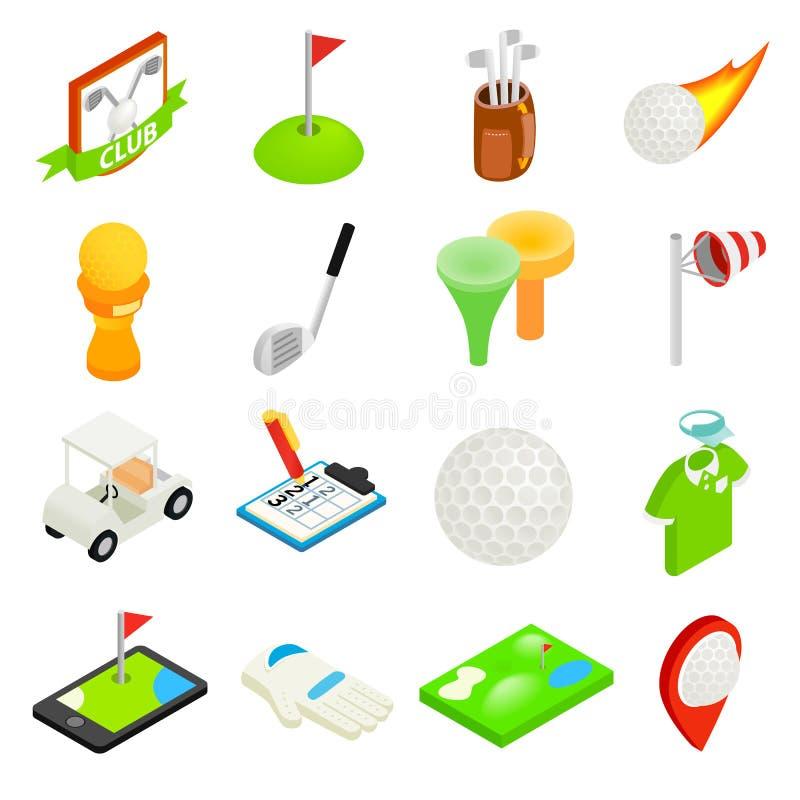 Isometric τρισδιάστατο σύνολο εικονιδίων γκολφ ελεύθερη απεικόνιση δικαιώματος