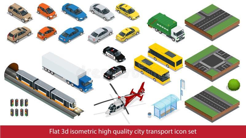 Isometric υψηλός - καθορισμένο υπόγειο τρένο εικονιδίων μεταφορών ποιοτικών πόλεων, αστυνομία, αυτοκίνητο φορτηγών ταξί μίνι, ελι ελεύθερη απεικόνιση δικαιώματος