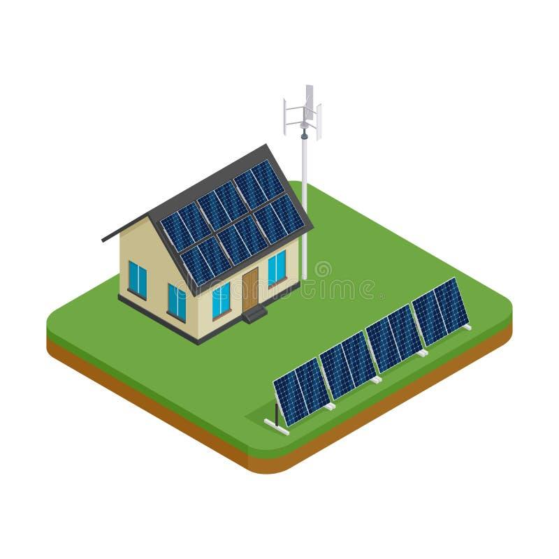 Isometric φιλικό σπίτι eco με τον ανεμοστρόβιλο και τα ηλιακά πλαίσια Πράσινη ενεργειακή έννοια διανυσματική απεικόνιση