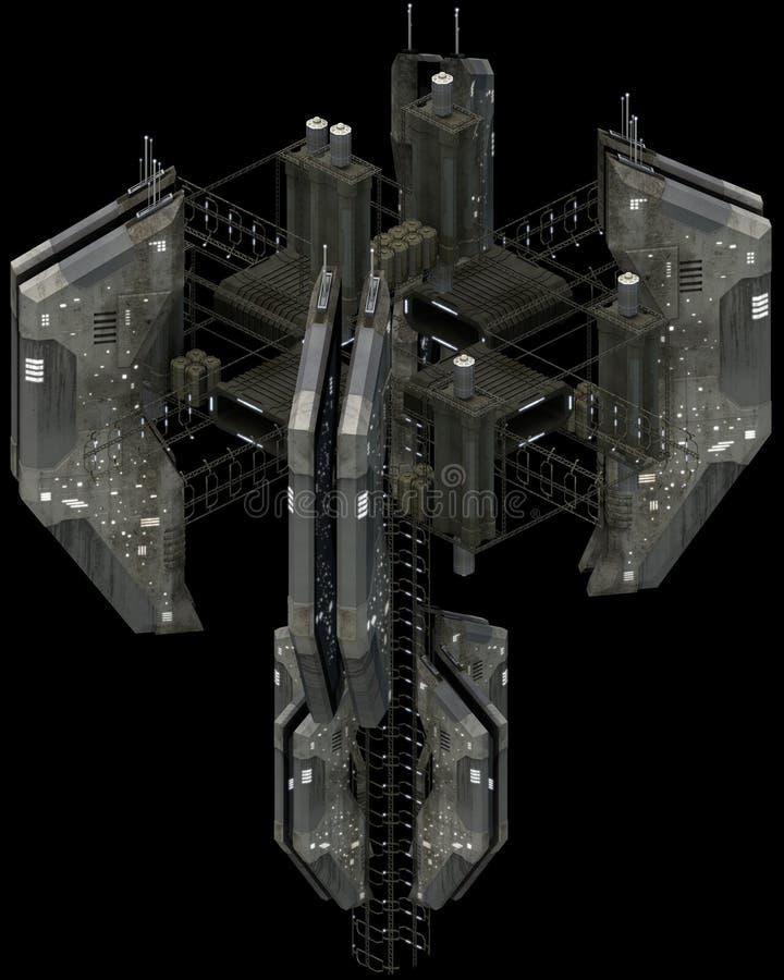 Isometric φουτουριστική sci-Fi αρχιτεκτονική, εντυπωσιακό spacestation τρισδιάστατη απόδοση ελεύθερη απεικόνιση δικαιώματος
