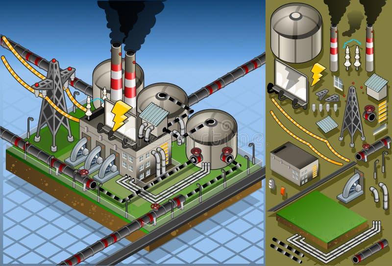Isometric φυτό πετρελαίου στην παραγωγή της ενέργειας διανυσματική απεικόνιση