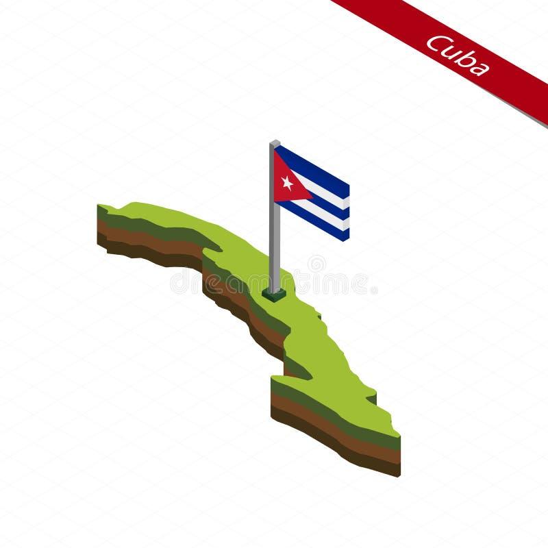 Isometric χάρτης και σημαία της Κούβας επίσης corel σύρετε το διάνυσμα απεικόνισης διανυσματική απεικόνιση