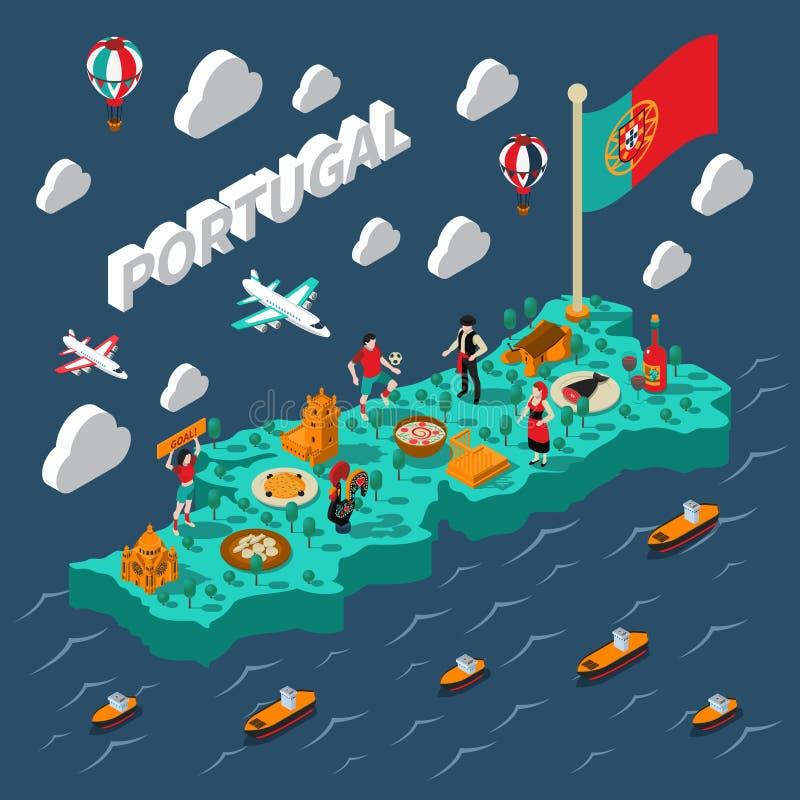 Isometric χάρτης της Πορτογαλίας διανυσματική απεικόνιση