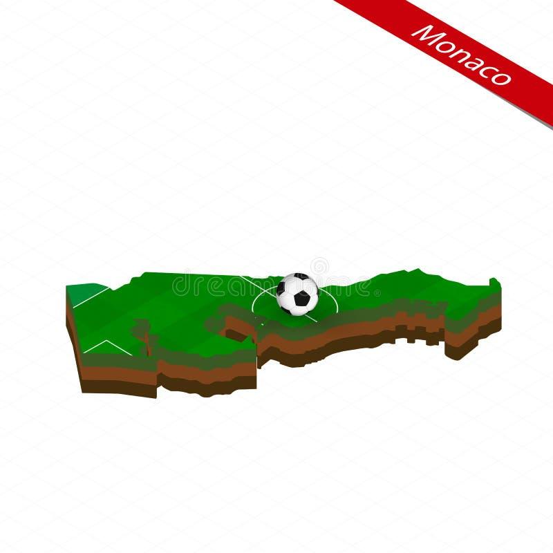 Isometric χάρτης του Μονακό με το γήπεδο ποδοσφαίρου Σφαίρα ποδοσφαίρου στο κέντρο της πίσσας ποδοσφαίρου ελεύθερη απεικόνιση δικαιώματος