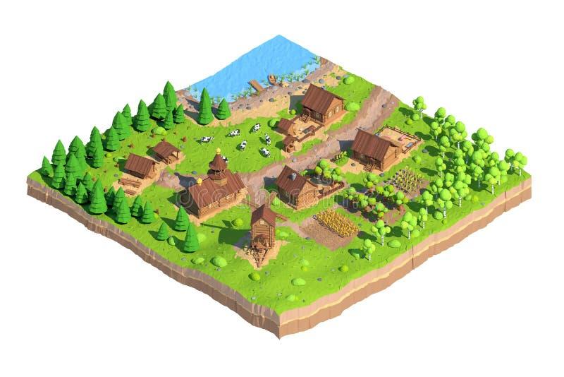 Isometric χαμηλό πολυ χωριό, τρισδιάστατη απόδοση, κινούμενα σχέδια ελεύθερη απεικόνιση δικαιώματος