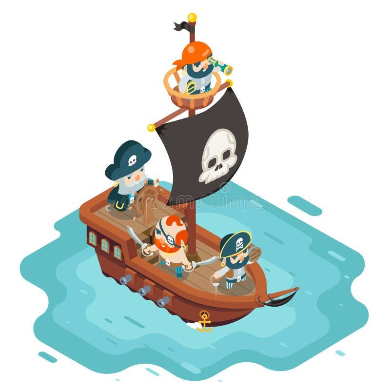 Isometric χαρακτήρας παιχνιδιών θησαυρών φαντασίας RPG καπετάνιου ναυτικών θαλασσόλυκων πειρατών κωλυσιεργίας πειρατών πληρωμάτων απεικόνιση αποθεμάτων