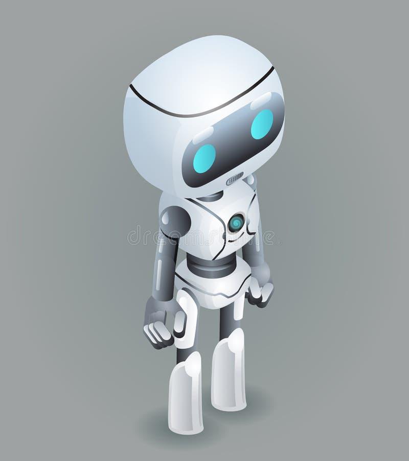 Isometric χαριτωμένος επιστημονικής φαντασίας τεχνολογίας καινοτομίας ρομπότ μελλοντικός λίγη τρισδιάστατη διανυσματική απεικόνισ ελεύθερη απεικόνιση δικαιώματος