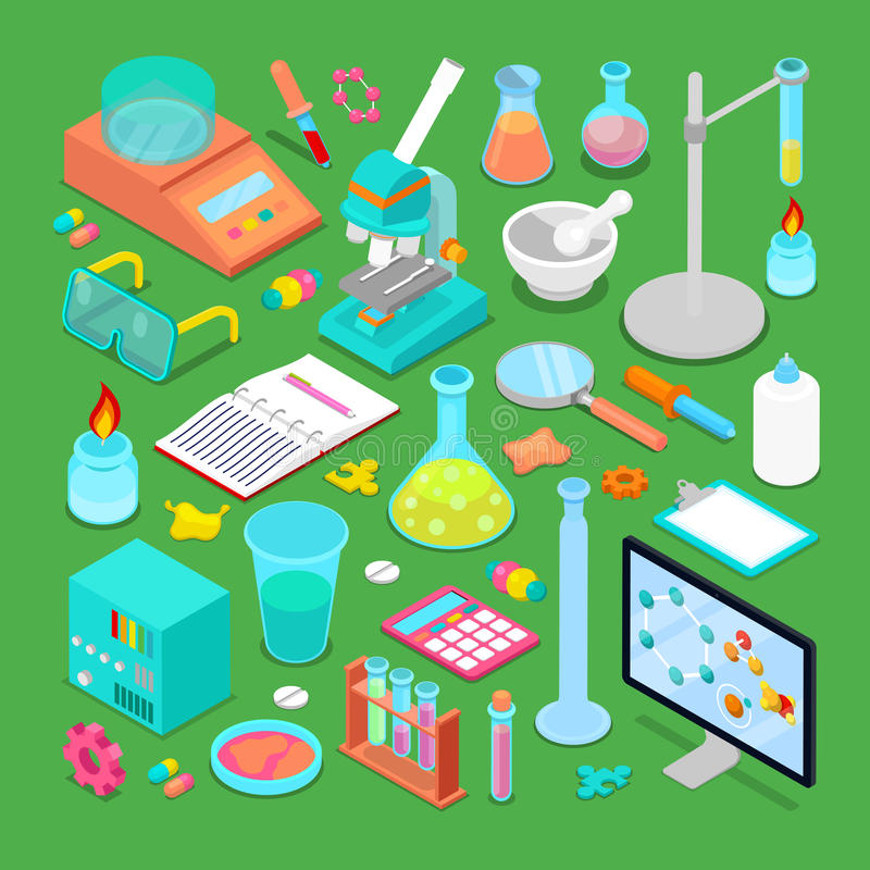 Isometric χημικά ερευνητικά στοιχεία καθορισμένα ελεύθερη απεικόνιση δικαιώματος