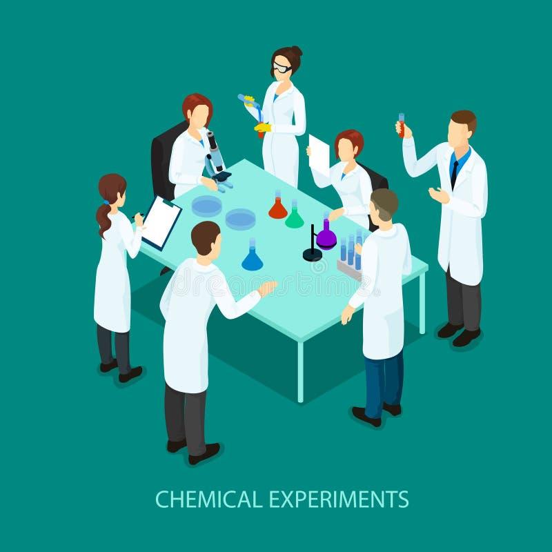 Isometric χημικό ερευνητικό πρότυπο απεικόνιση αποθεμάτων