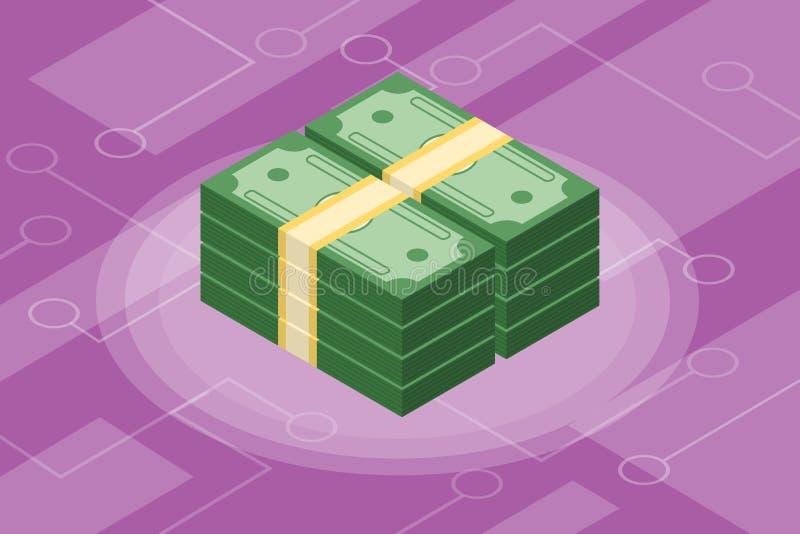 Isometric χρηματοδότηση επένδυσης μετρητών απομονωμένη χρήματα διανυσματική απεικόνιση