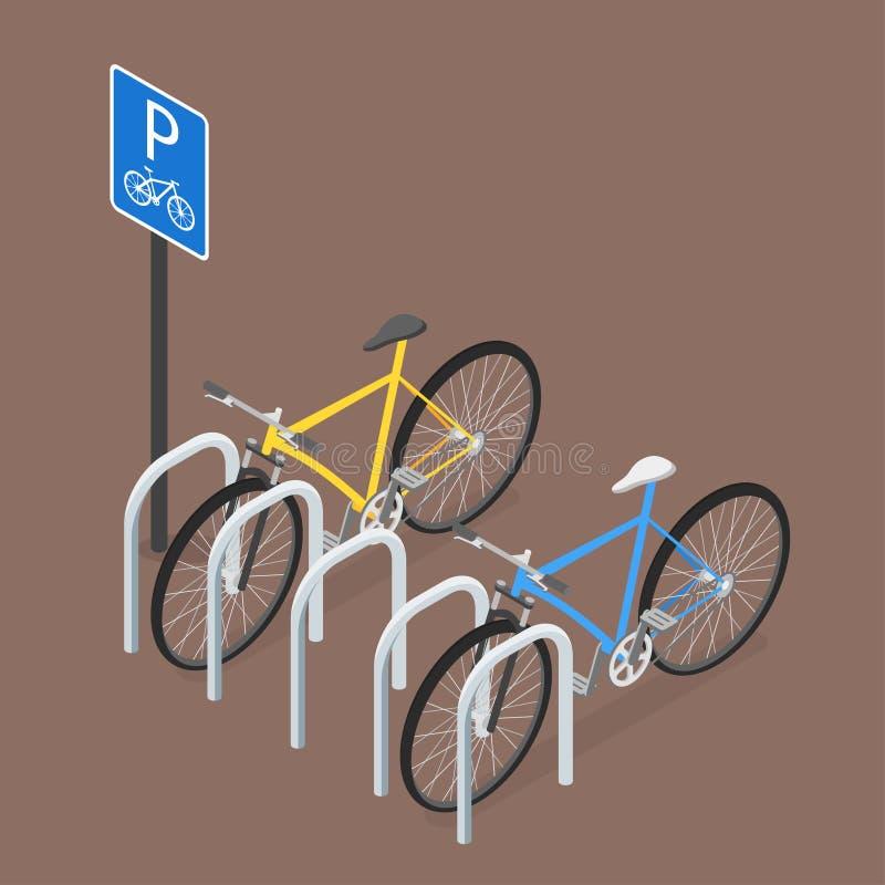 Isometric χώρος στάθμευσης ποδηλάτων Επίπεδο ύφος, διάνυσμα διανυσματική απεικόνιση