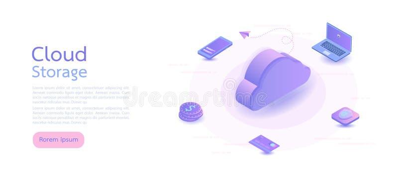 Isometric ψηφιακή τεχνολογία Μεγάλα στοιχεία, αποθήκευση πληροφοριών σύννεφων, σφαιρική τεχνολογία μεταφοράς σχέδιο, έμβλημα και  διανυσματική απεικόνιση