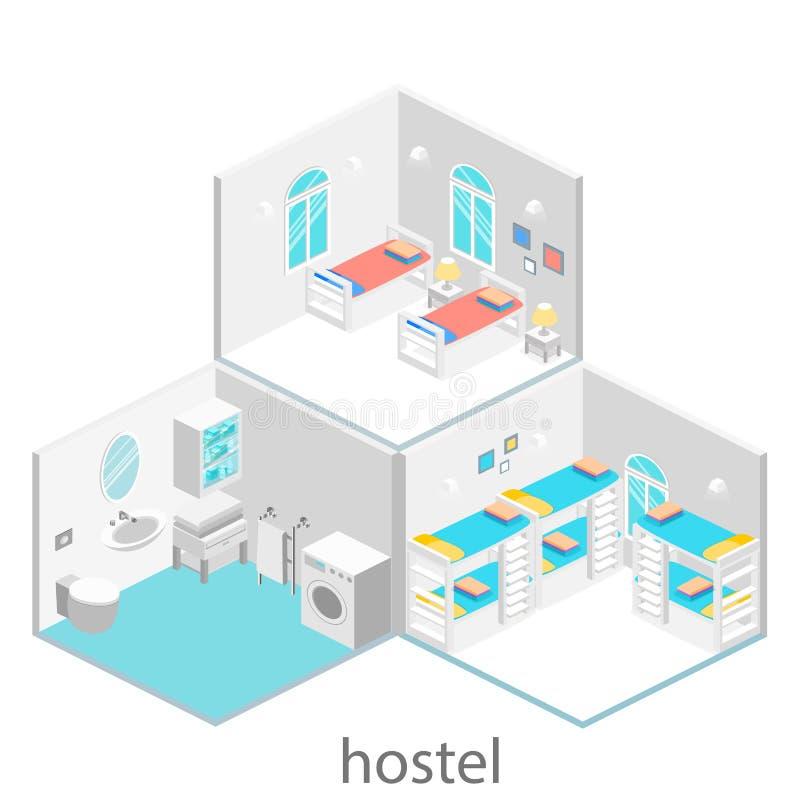 Isometric δωμάτιο ξενοδοχείου με το κρεβάτι και το παράθυρο κουκετών Επίπεδο τρισδιάστατο illustartion δωμάτιο ύπνου με διάφορα κ ελεύθερη απεικόνιση δικαιώματος