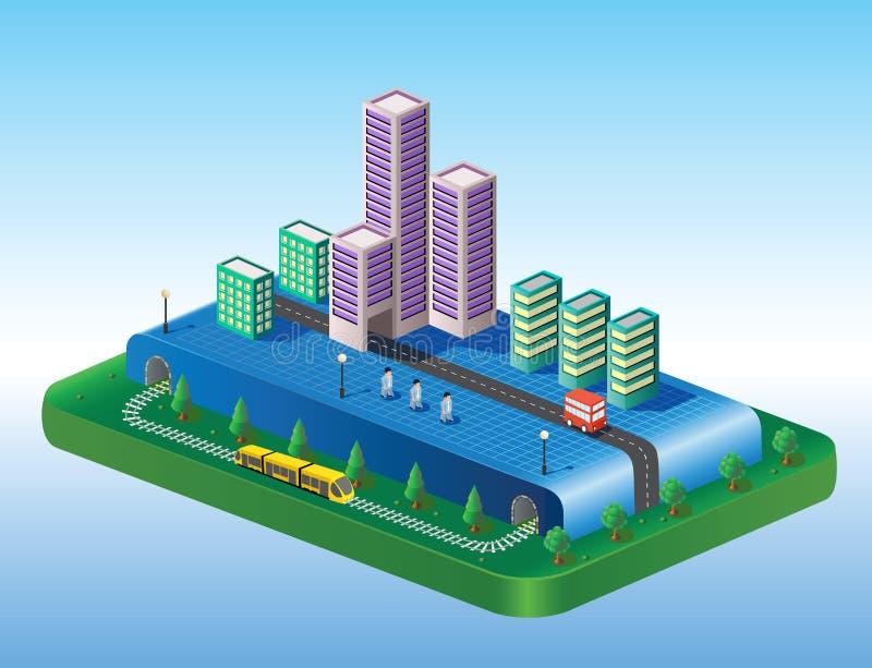 isometric όψη πόλεων ελεύθερη απεικόνιση δικαιώματος