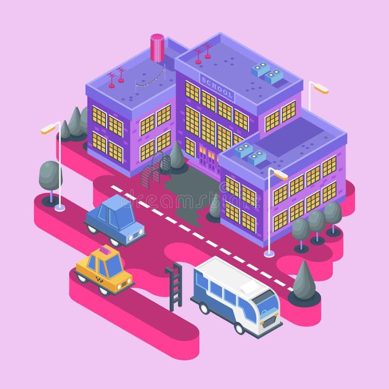Isometric όψη Σύγχρονο κτήριο πόλεων Πόλης φραγμός με το ζωηρόχρωμα σπίτι, το σχολείο και τα αυτοκίνητα διανυσματική απεικόνιση