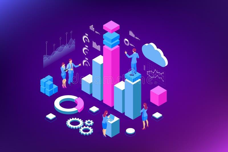 Isometric ειδική ομάδα για την ανάλυση στοιχείων, στατιστική επιχειρήσεων, διαχείριση, διαβούλευση, μάρκετινγκ Προσγειωμένος πρότ διανυσματική απεικόνιση