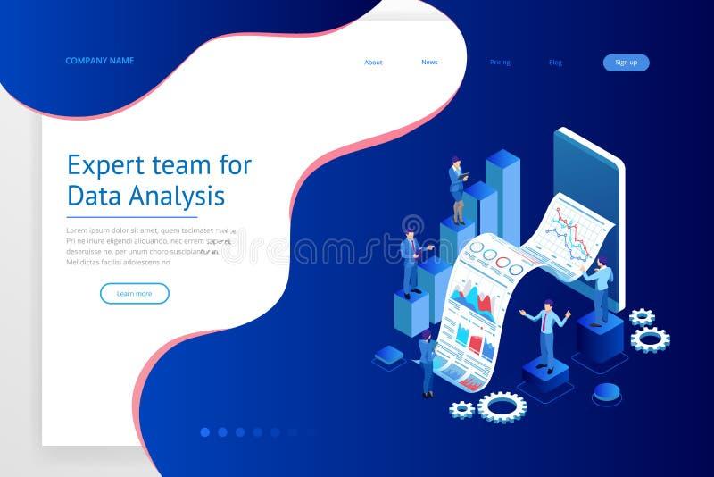 Isometric ειδική ομάδα για την ανάλυση στοιχείων, στατιστική επιχειρήσεων, διαχείριση, διαβούλευση, μάρκετινγκ Προσγειωμένος πρότ ελεύθερη απεικόνιση δικαιώματος