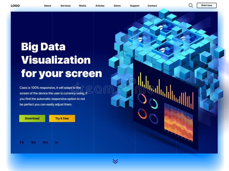 Ιστοχώρος που παρέχει την υπηρεσία της μεγάλης απεικόνισης στοιχείων για την οθόνη σας διανυσματική απεικόνιση