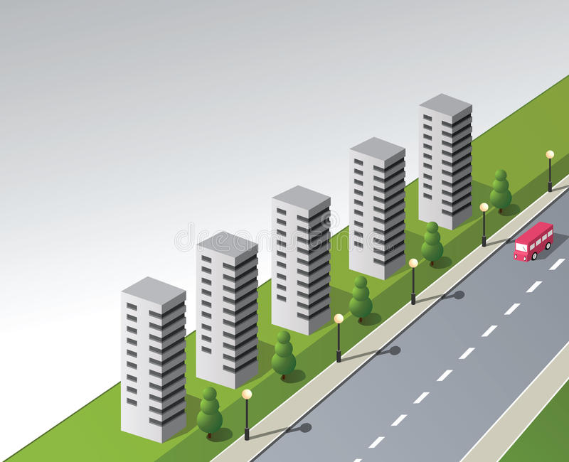 Isometric. Fantasy on the theme of the city with a red bus royalty free illustration