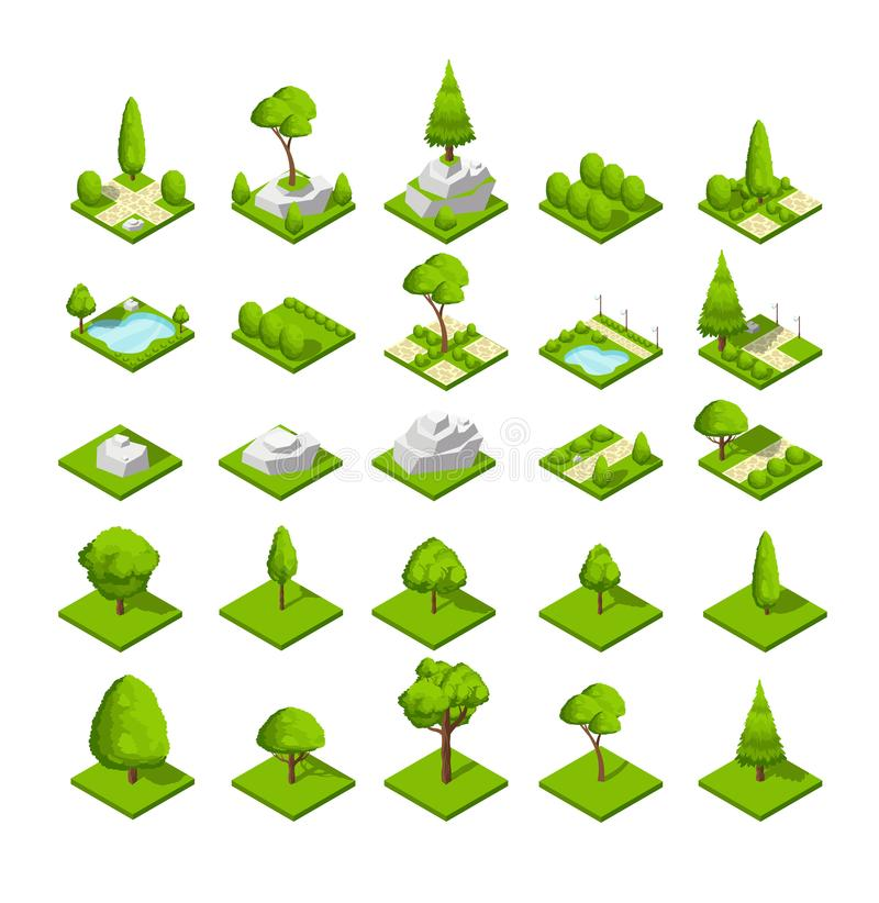 Free Isometric 3d Nature Elements. Forest And City Park Trees And Plants. Vector Map Graphics Stock Images - 111429104