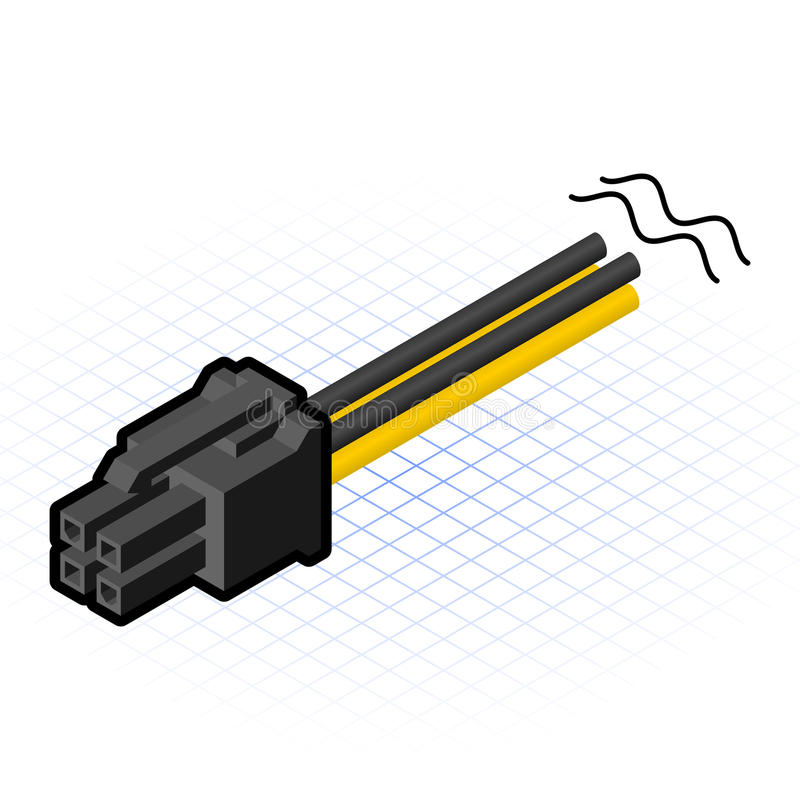 Free Isometric 4 Pin PCIe Connector Vector Illustration Stock Photo - 43694370