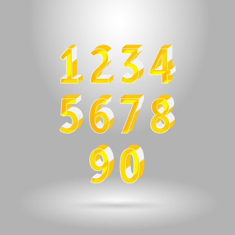 Isometric abecadło chrzcielnica Liczby ustawiają 0-9 ilustracji