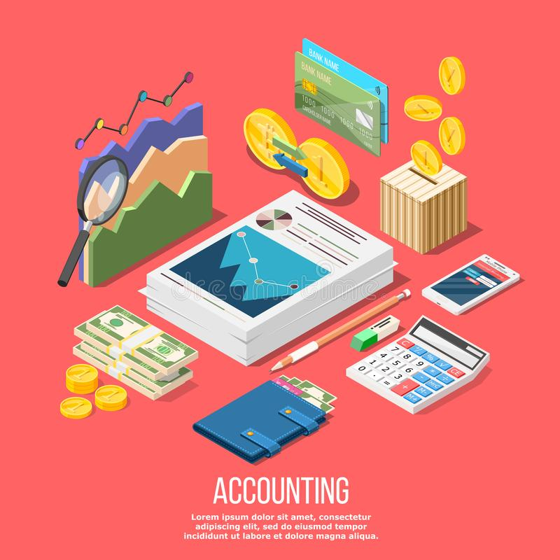 Accounting Elements Conceptual Background. Isometric accounting composition with isolated images of accountant workspace elements money coins and financial stock royalty free illustration