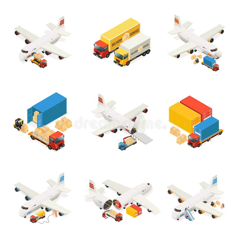 Isometric Air Logistics Elements Collection stock illustration