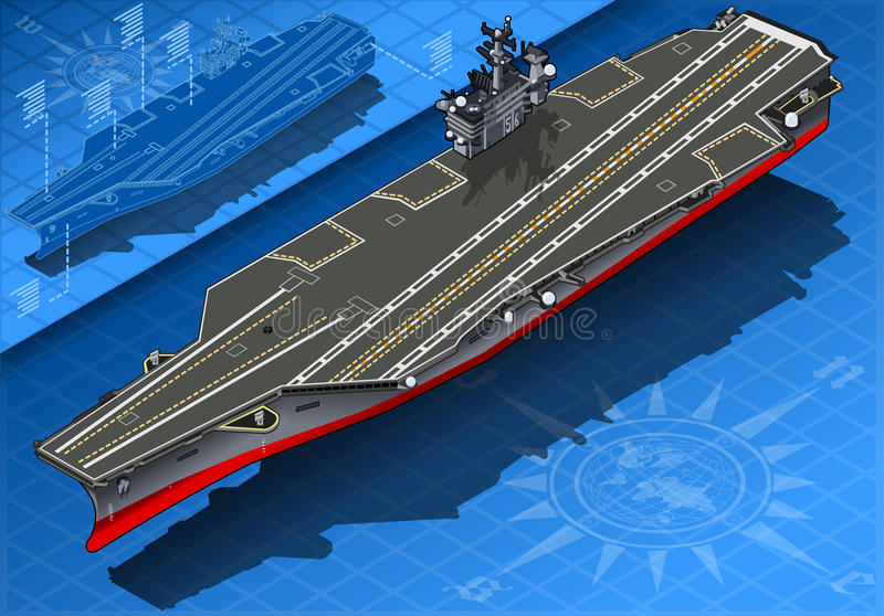 Isometric Aircraft Carrier in Front View stock illustration