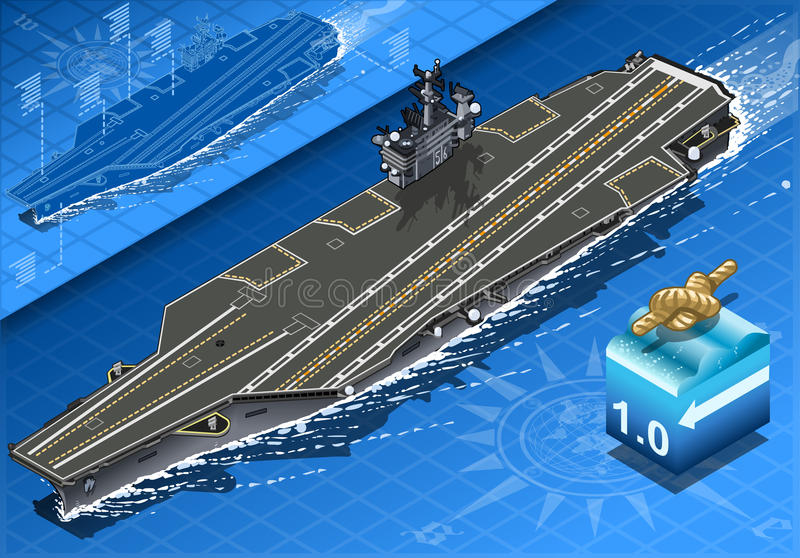 Isometric Aircraft Carrier in Navigation in Front stock illustration