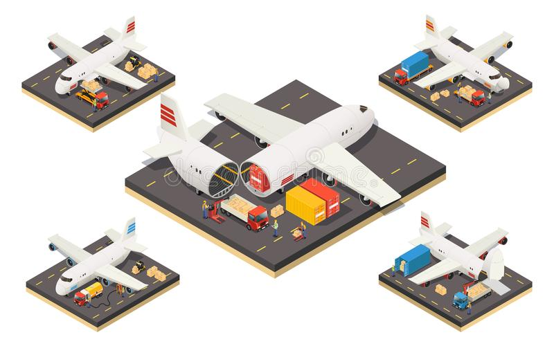 Isometric Aircraft Logistics Concept royalty free illustration