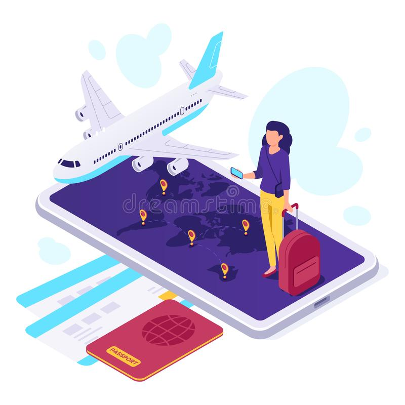 Isometric airplane travel. Traveler suitcase, airplane travels and traveling 3d vector illustration royalty free illustration