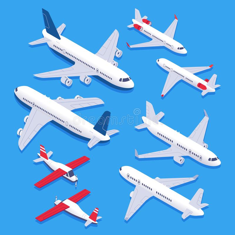 Isometric airplanes. Passenger jet airplane, private aircraft and airline plane. Aviation planes 3d isolated vector set. Isometric airplanes. Passenger jet royalty free illustration