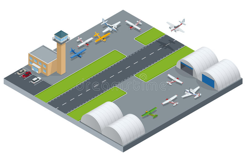 Isometric Airport building. Airport building with runway. Airport field. Flat 3d vector isometric illustration. Isometric Airport building. Airport building stock illustration