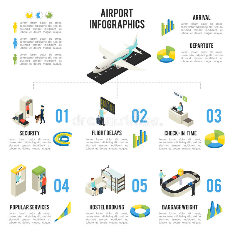 Isometric Airport Infographic Concept Stock Vector Illustration Of