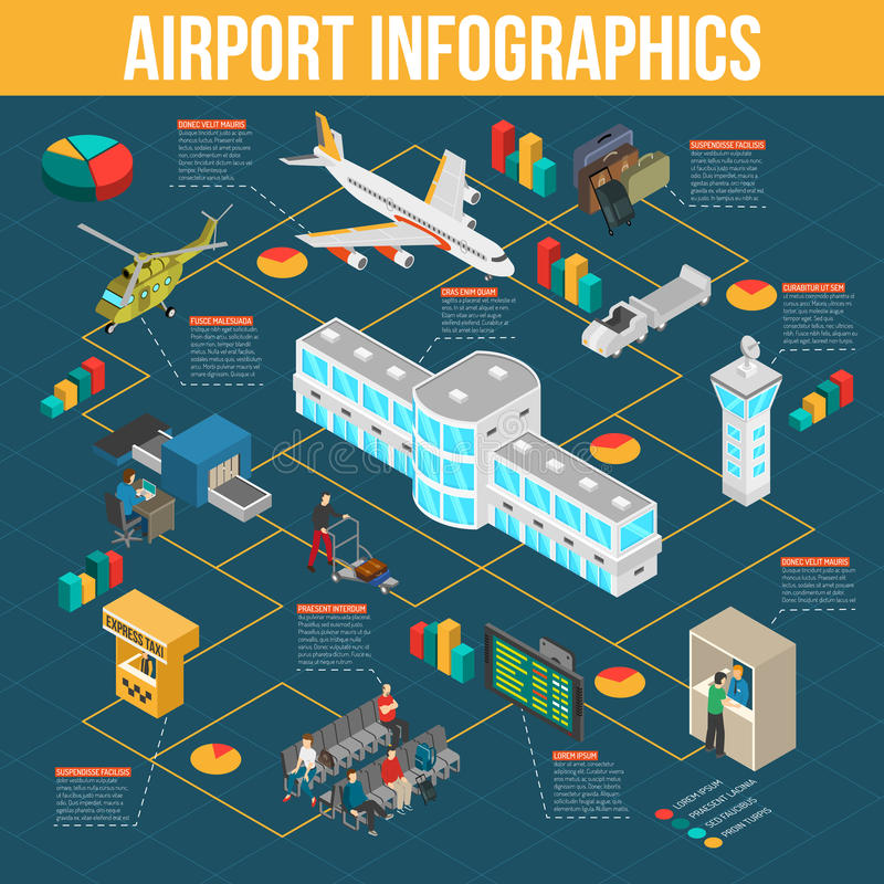 Isometric Airport Infographics vector illustration