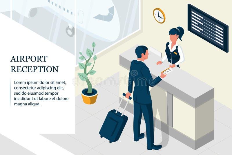 Isometric airport interior vector illustration