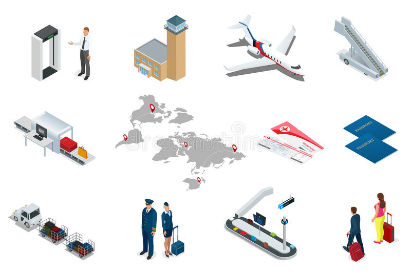 Isometric Airport Travel and transport Icons. Isolated people, airport terminal, airplane, traveler man and woman stock illustration