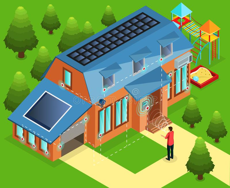 Isometric Alarm Installation In House Concept. With face eye or hand biometric identification vector illustration vector illustration