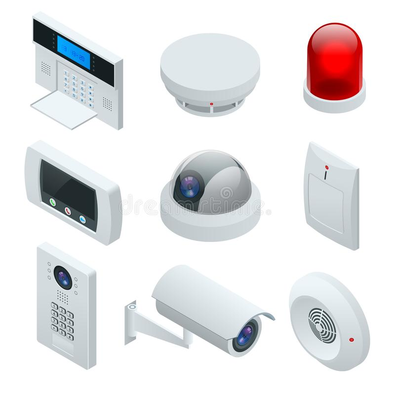 Isometric alarmowego systemu dom ochrona krajowej Ochrony Alarmowa klawiatura Z osobą Zbroi system Dostęp, alarm strefy royalty ilustracja