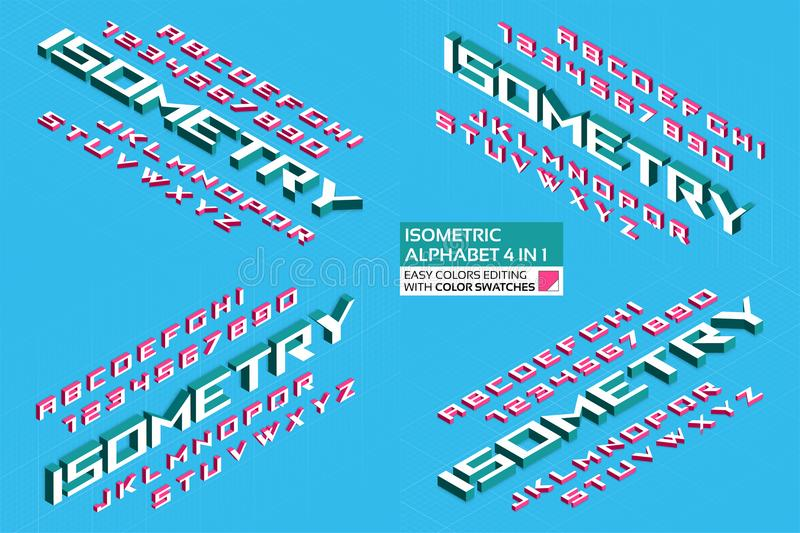 Isometric alphabet 4 in 1. 3d letters and numbers stock photography