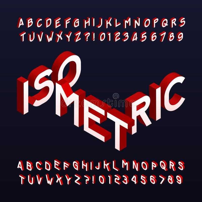 Isometric alphabet font. Three-dimensional effect letters and numbers. vector illustration