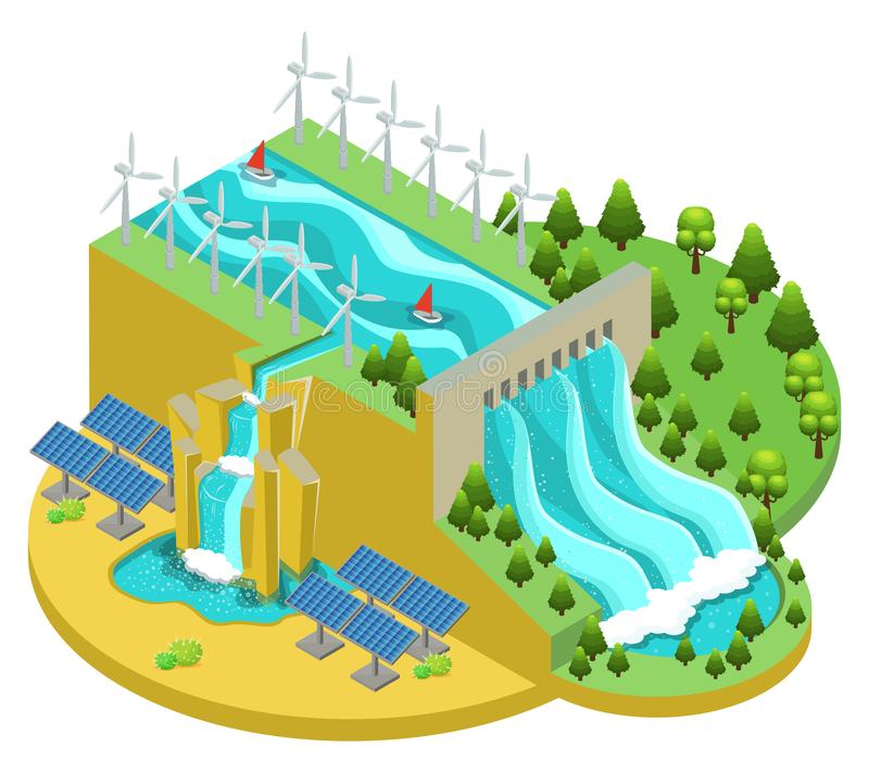 Isometric Alternative Energy Sources Concept. With hydroelectric power station windmills and solar panels vector illustration royalty free illustration